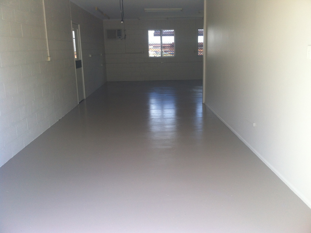 Concrete Interior Building & Floor Painted A Crisp White - Concrete Painter - Brisbane, Gold Coast & Sunshine Coast